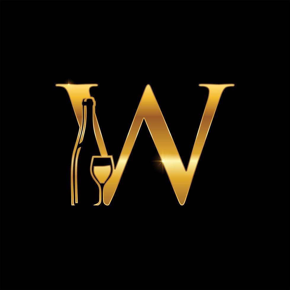 bottiglia di vino dorata e monogramma in vetro lettera w vettore