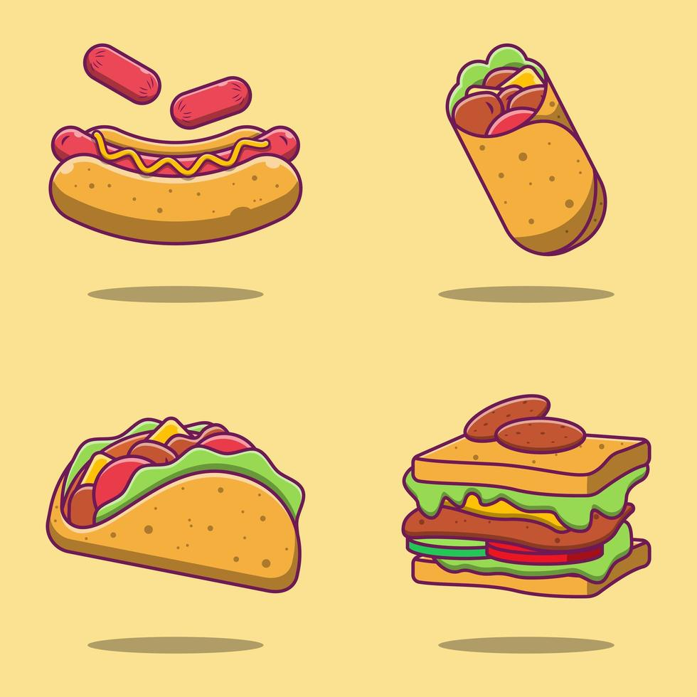 set di cartoni animati di hot dog, burrito, taco e sandwich vettore