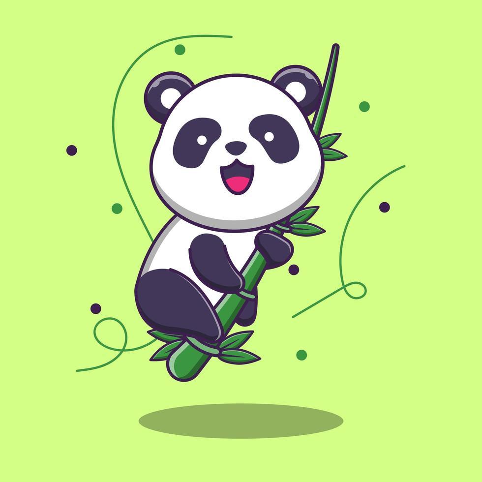 Panda simpatico cartone animato sul ramo di un albero di bambù vettore