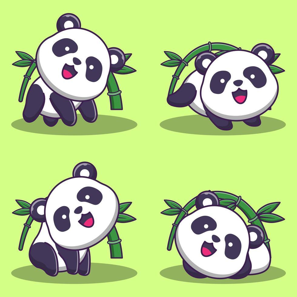 set di simpatici orsi panda con bambù vettore