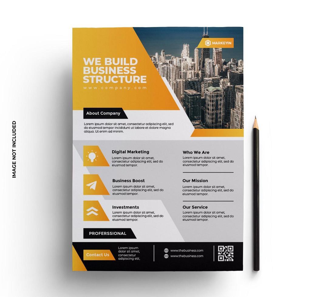 modello di volantino aziendale di affari giallo e nero vettore