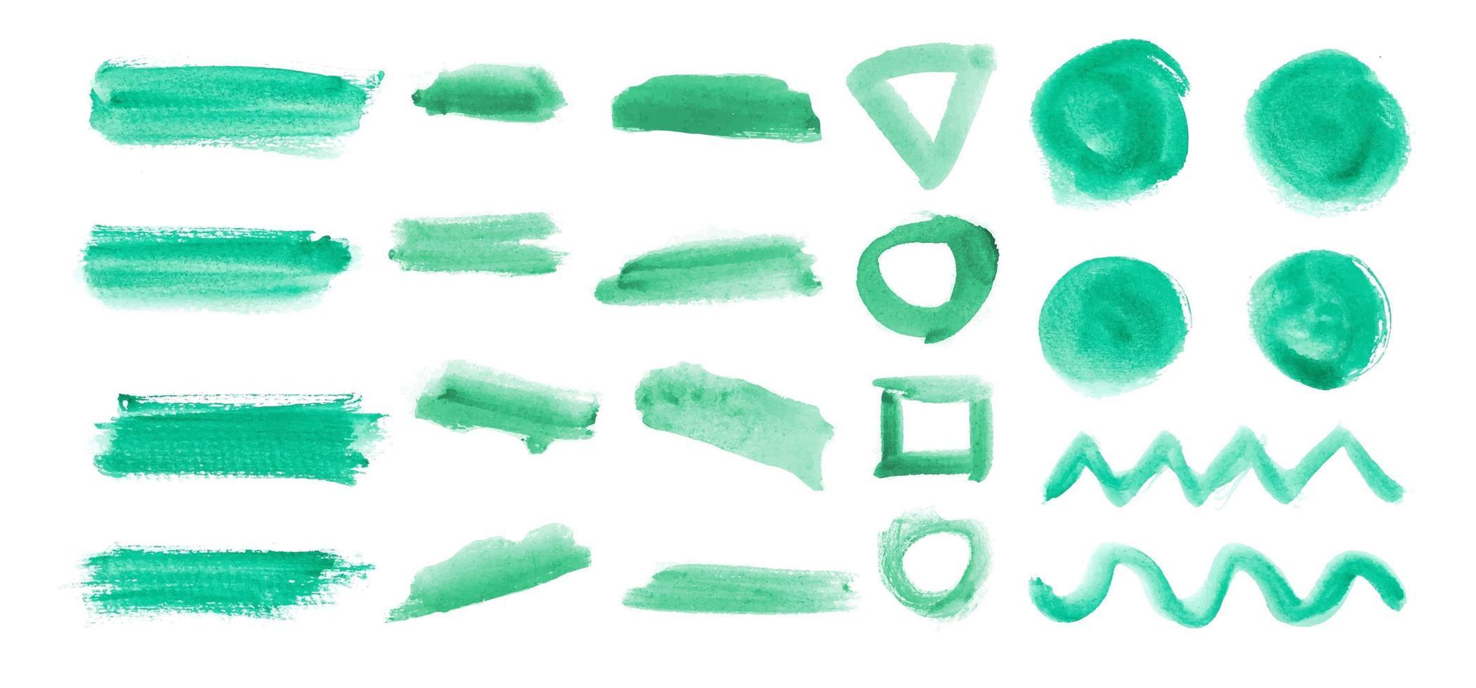 insieme di elementi di pennellata verde vettore