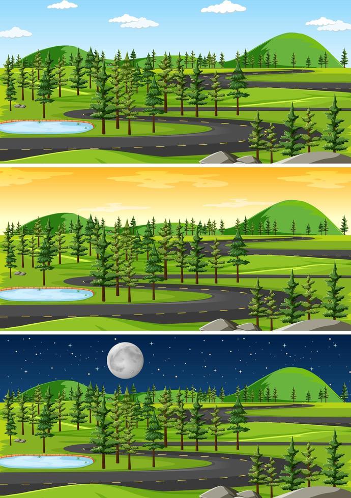 scena del paesaggio in diversi momenti della giornata vettore