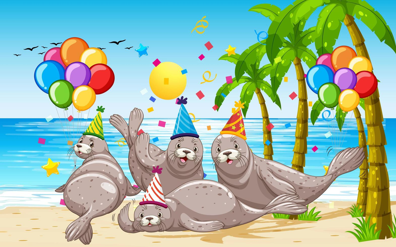 gruppo di foche nel personaggio dei cartoni animati a tema del partito vettore