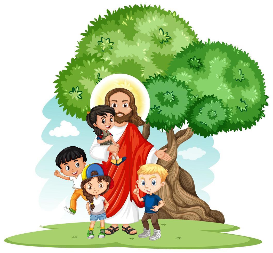 Gesù con un gruppo di bambini cartoon chracter set vettore