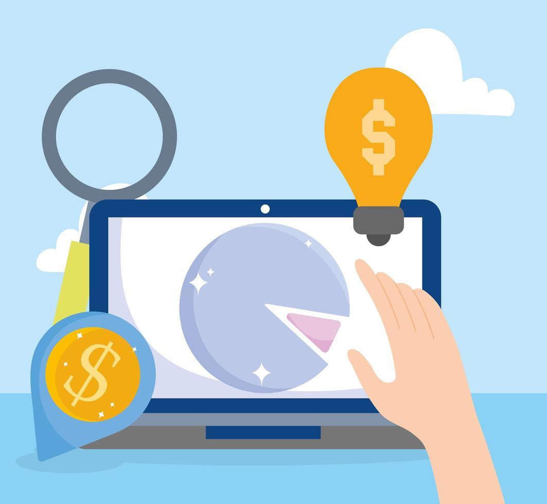 mercato online e composizione dell'e-commerce vettore