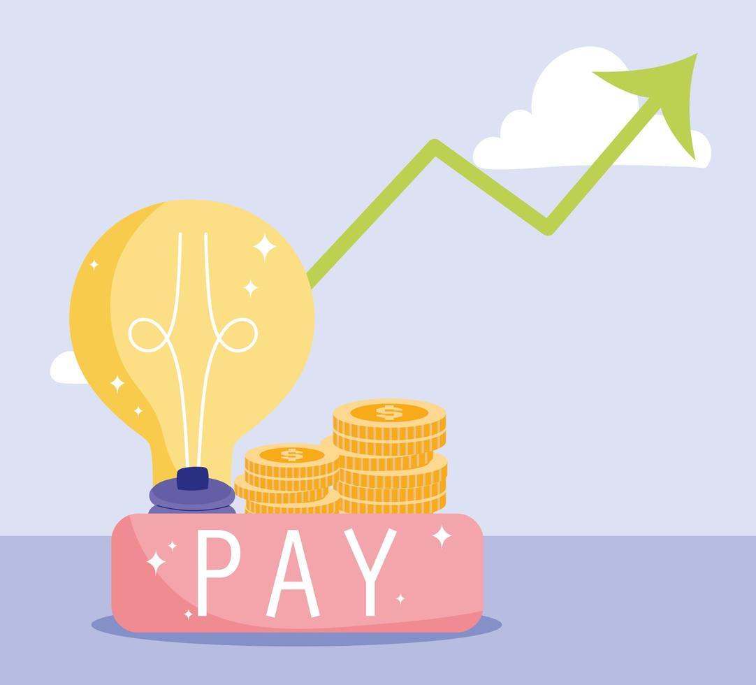 pagamento e composizione finanziaria con monete d'oro vettore