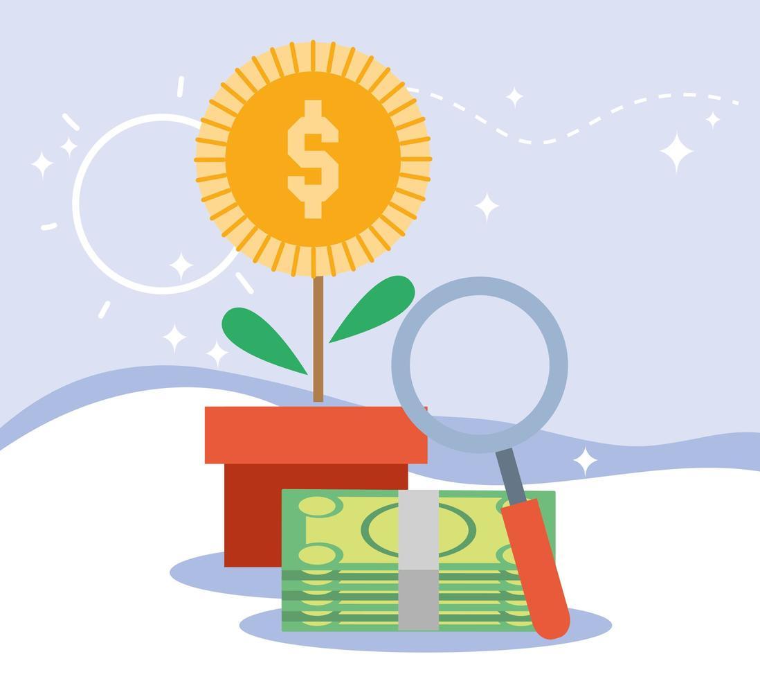 composizione di pagamento con albero dei soldi vettore
