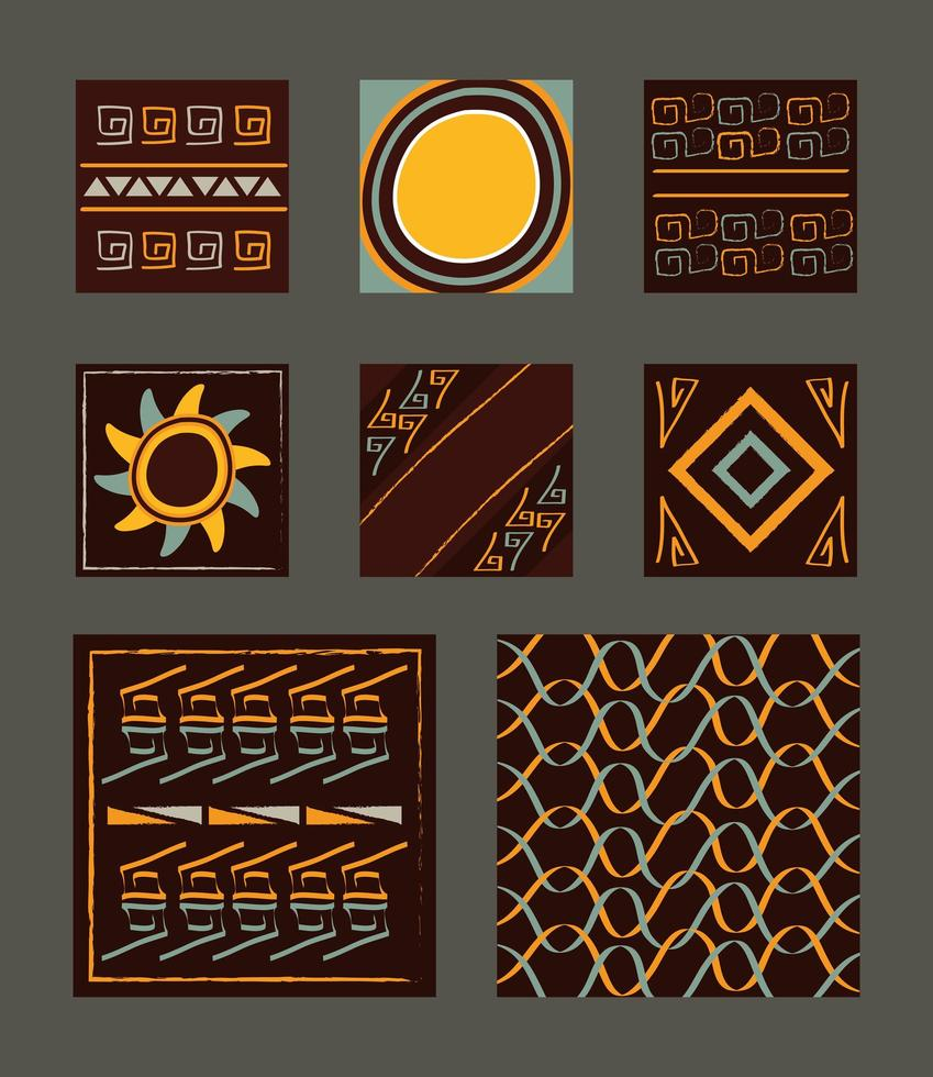 set di piastrelle sfondo ornamento etnico vettore