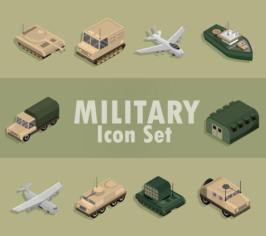 set di icone militari isometriche vettore