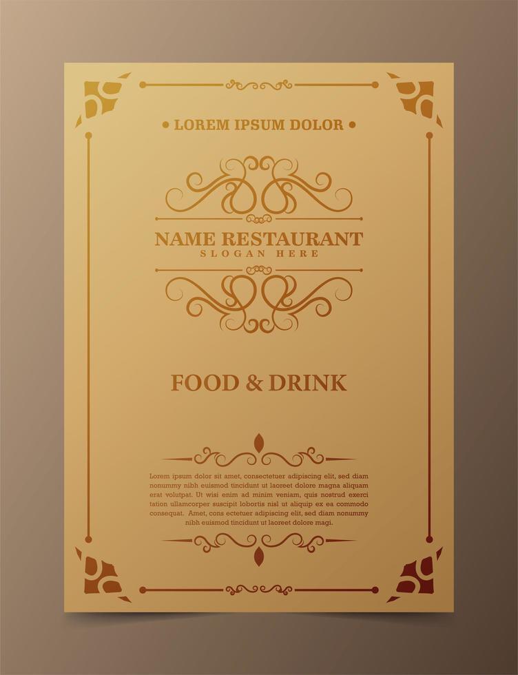 modello di copertina del menu del ristorante vettore