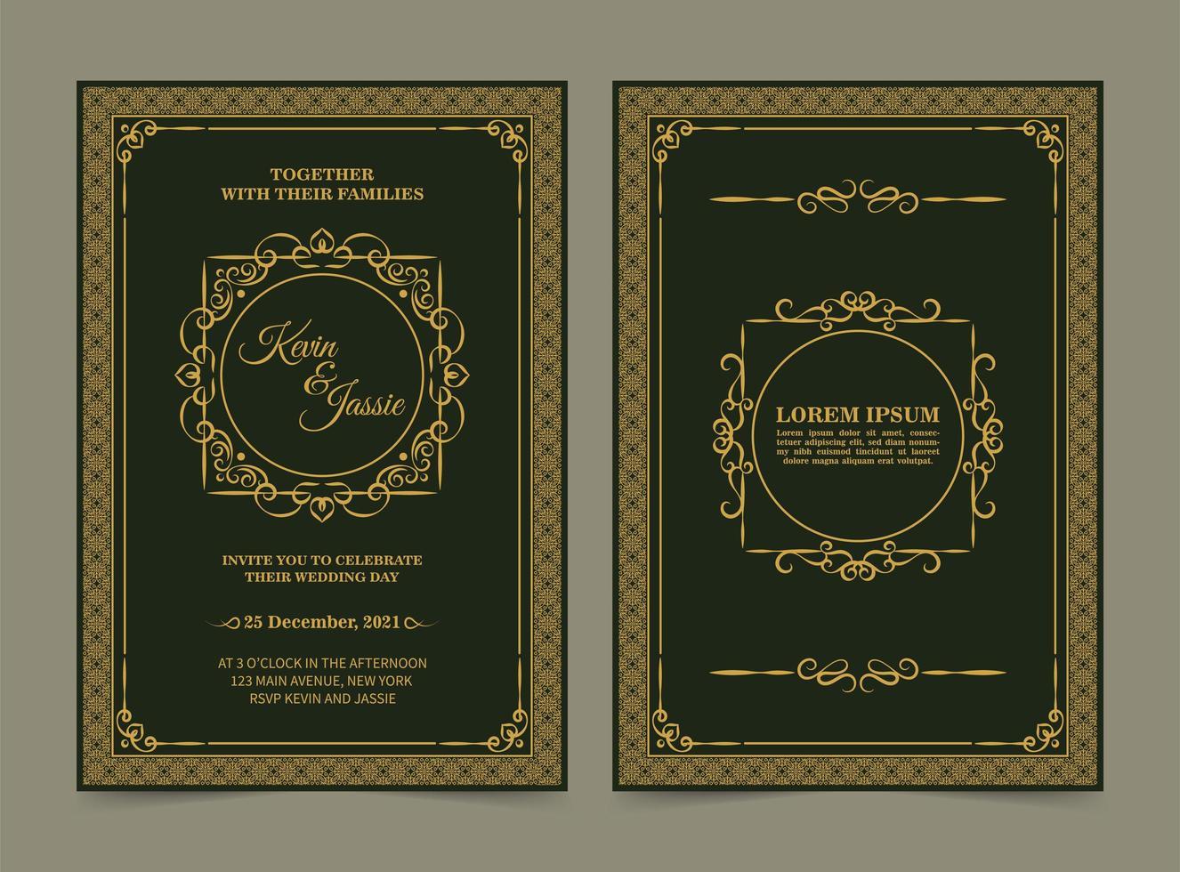 carta di invito matrimonio classico elegante vettore