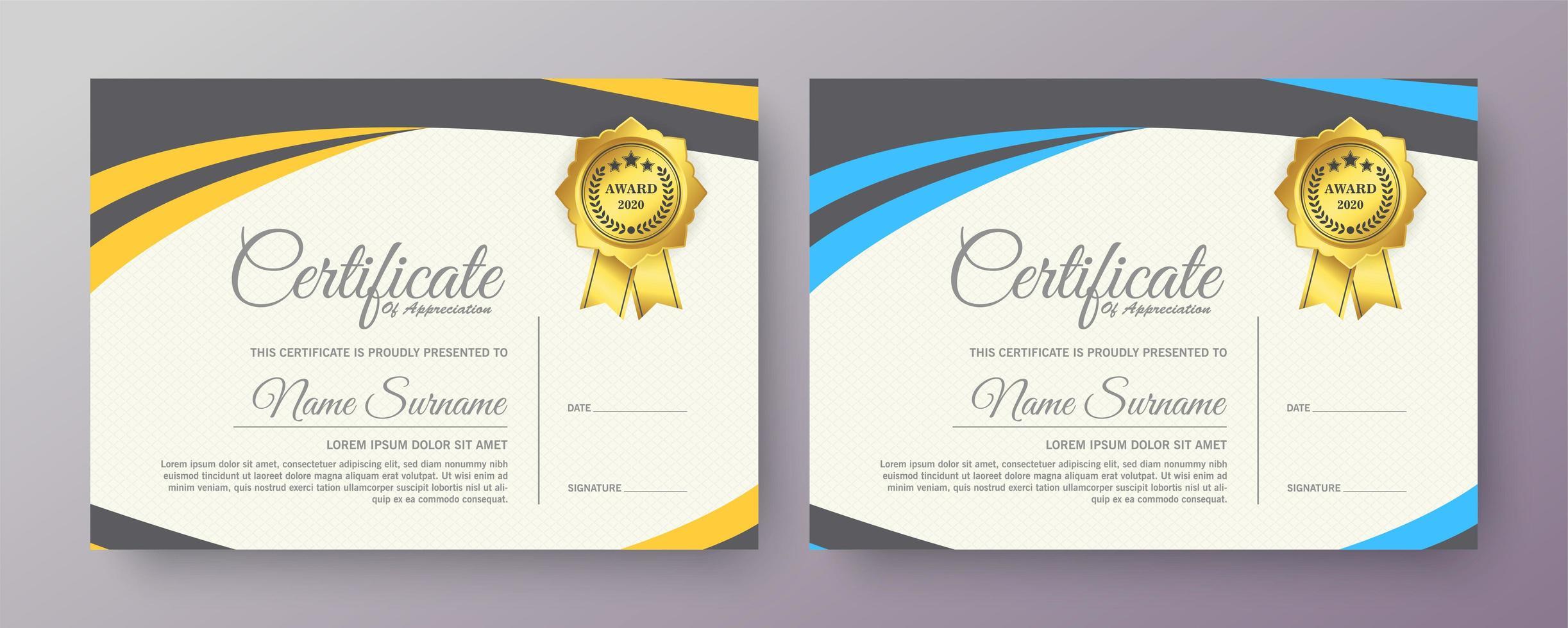 modelli di certificato con colori giallo e blu vettore