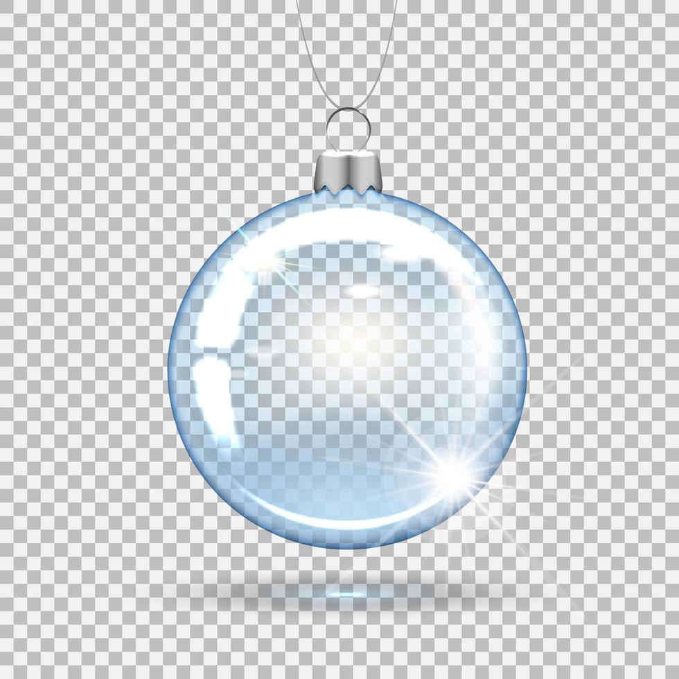 ornamento trasparente della palla di natale vettore