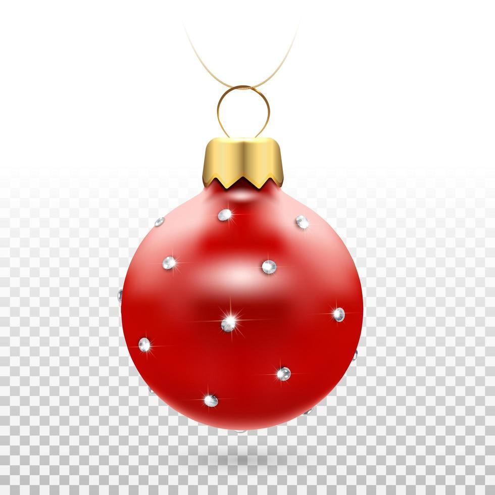ornamento di palla di Natale rosso lucido con diamanti vettore