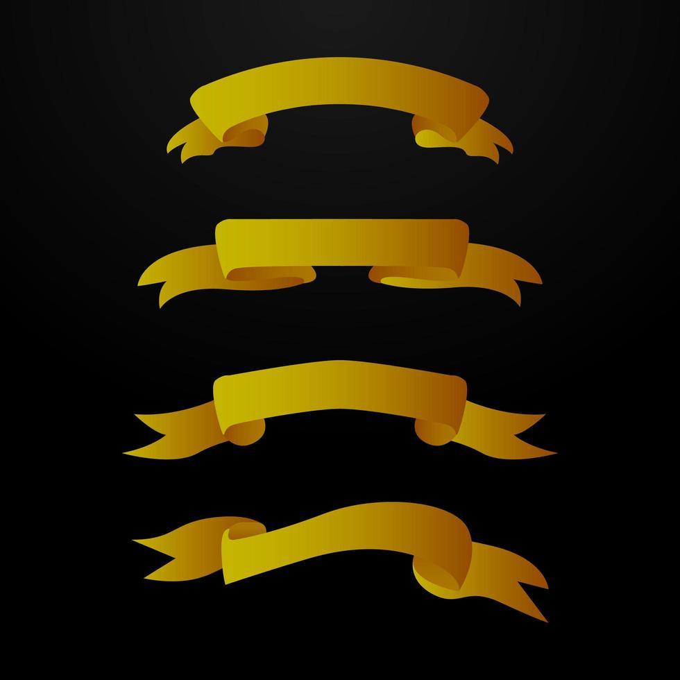 set di banner dorati retrò vettore