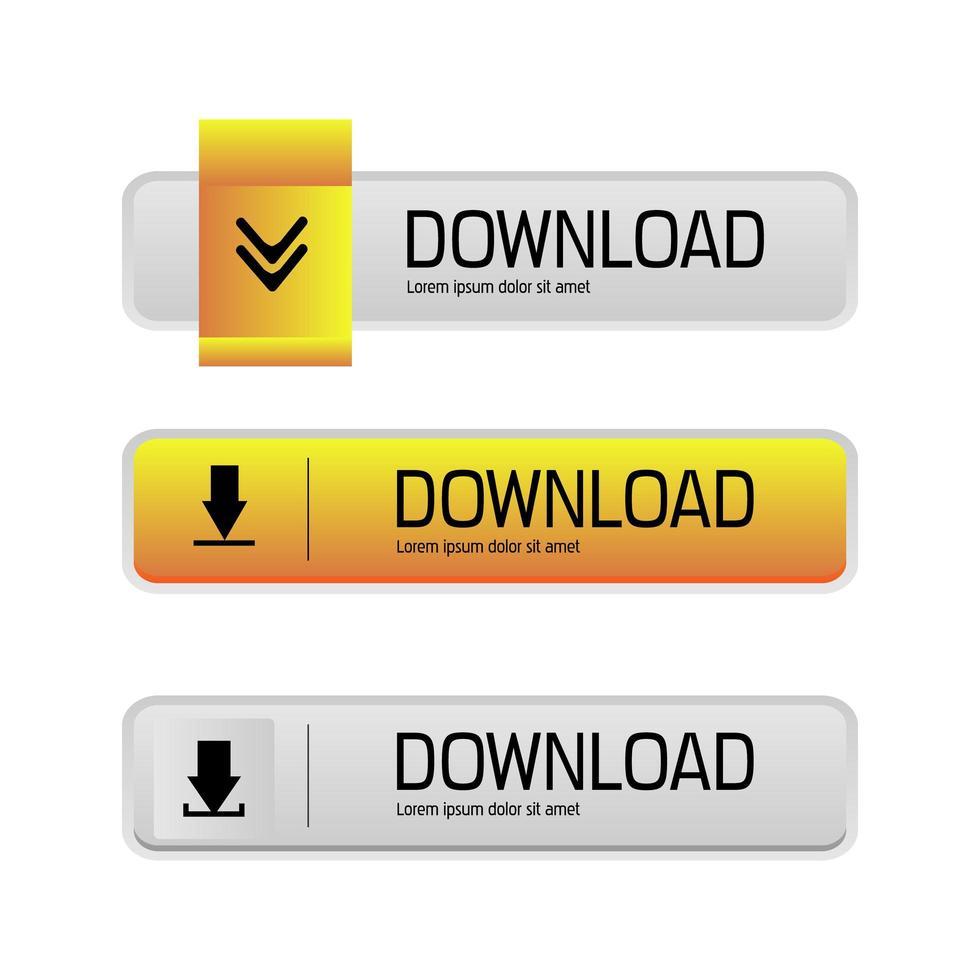 set di pulsanti per il download vettore