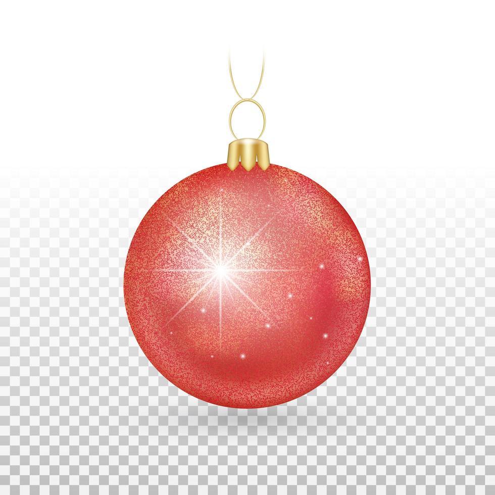 ornamento di palla di Natale rosso lucido vettore
