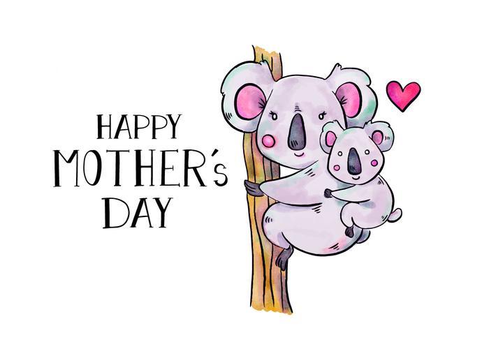 Carino Koala mamma e figlio in albero con iscrizione alla festa della mamma vettore