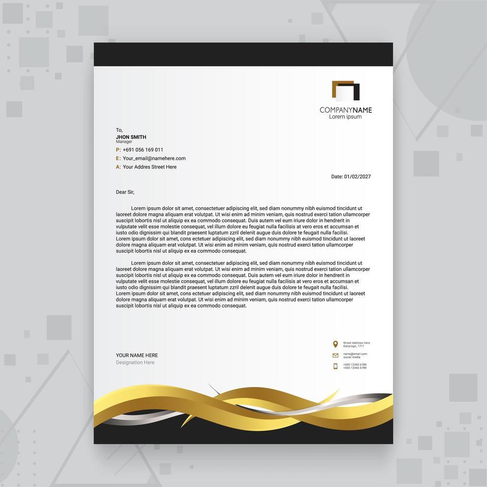 modello di carta intestata di affari creativi d'oro di lusso vettore