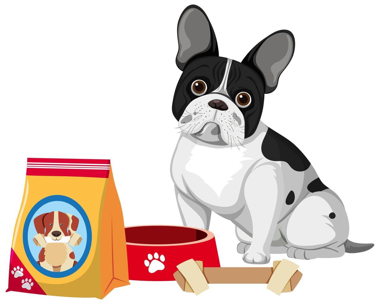 bulldog francese con cibo per cani e osso giocattolo vettore