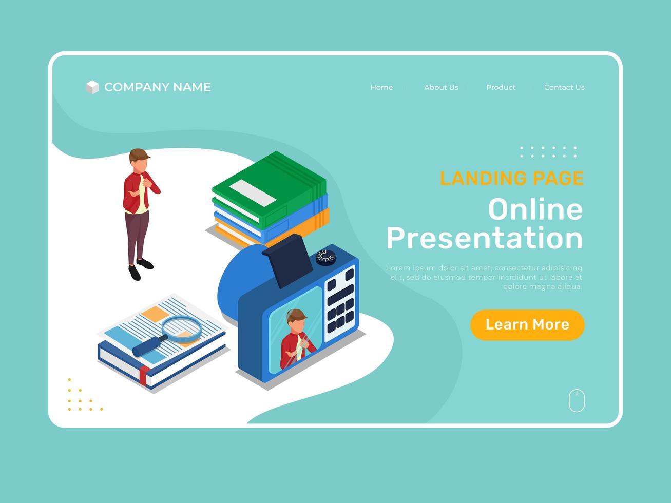 pagina di destinazione della presentazione online vettore