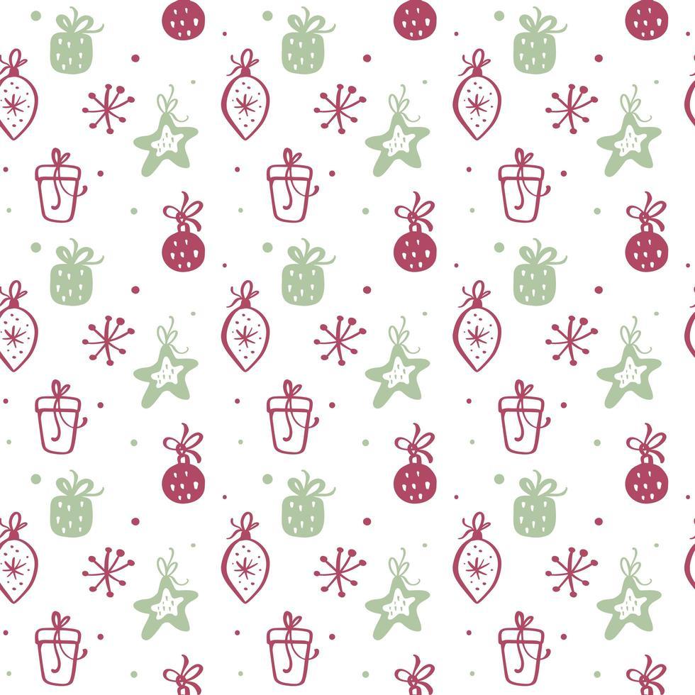 trama seamless pattern di Natale con scatole regalo vettore