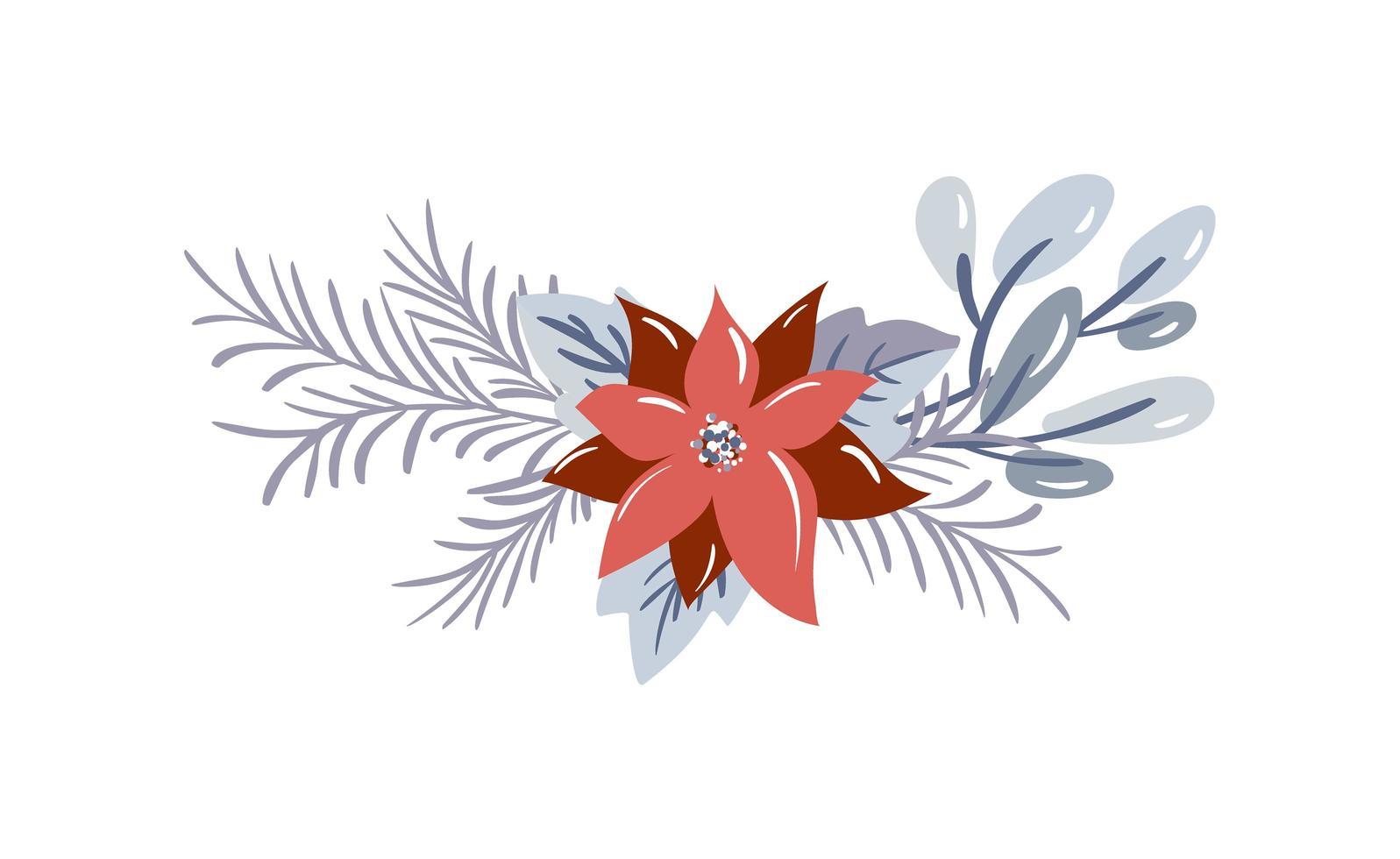 bouquet invernale con frutti di bosco e rami di abete vettore