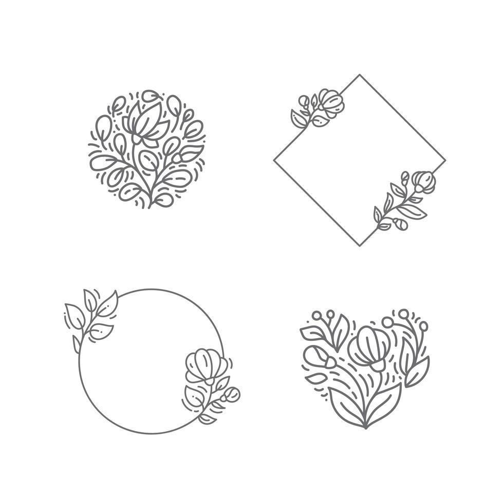 cornice quadrata monolinea geometrica con elementi di fiori e piante vettore