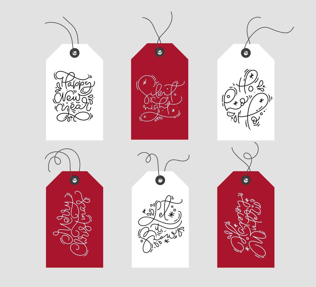 set di etichette natalizie scandinave disegnate a mano vettore