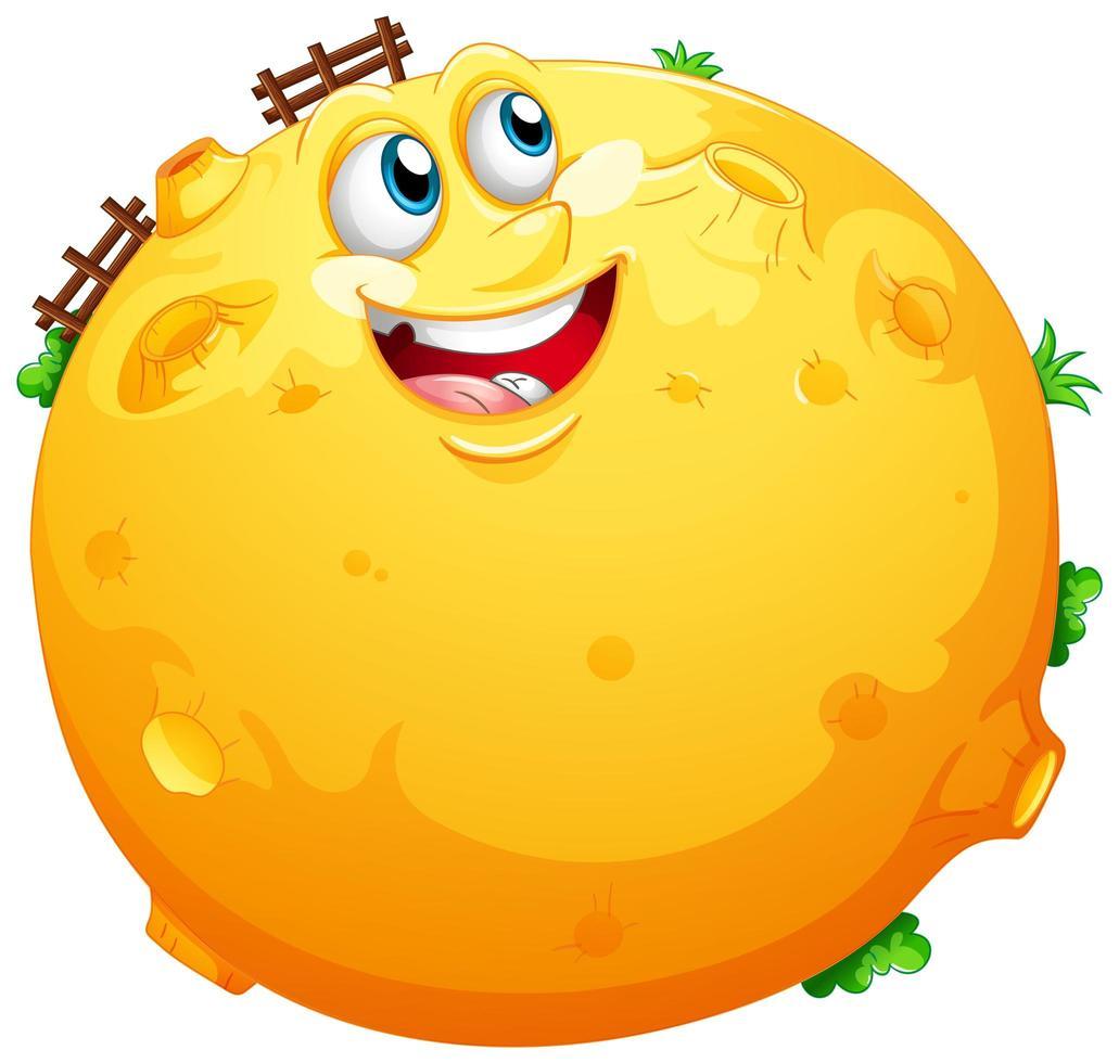 luna gialla con faccia felice vettore
