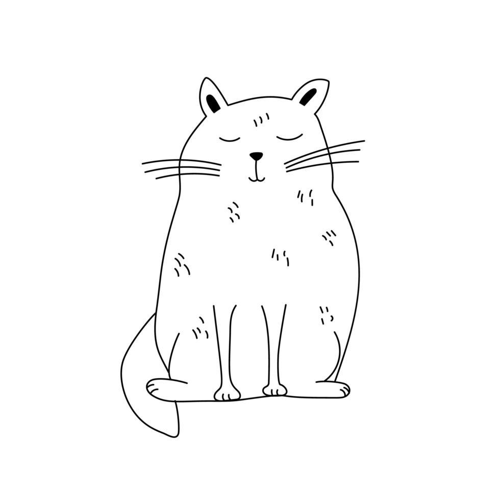 simpatico cartone animato doodle cat vettore