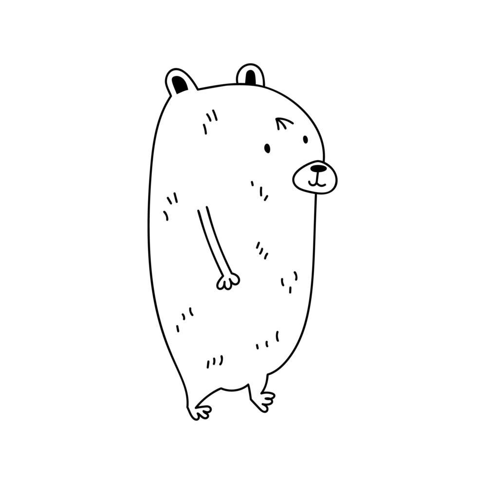 simpatico cartone animato doodle orso contorno vettore