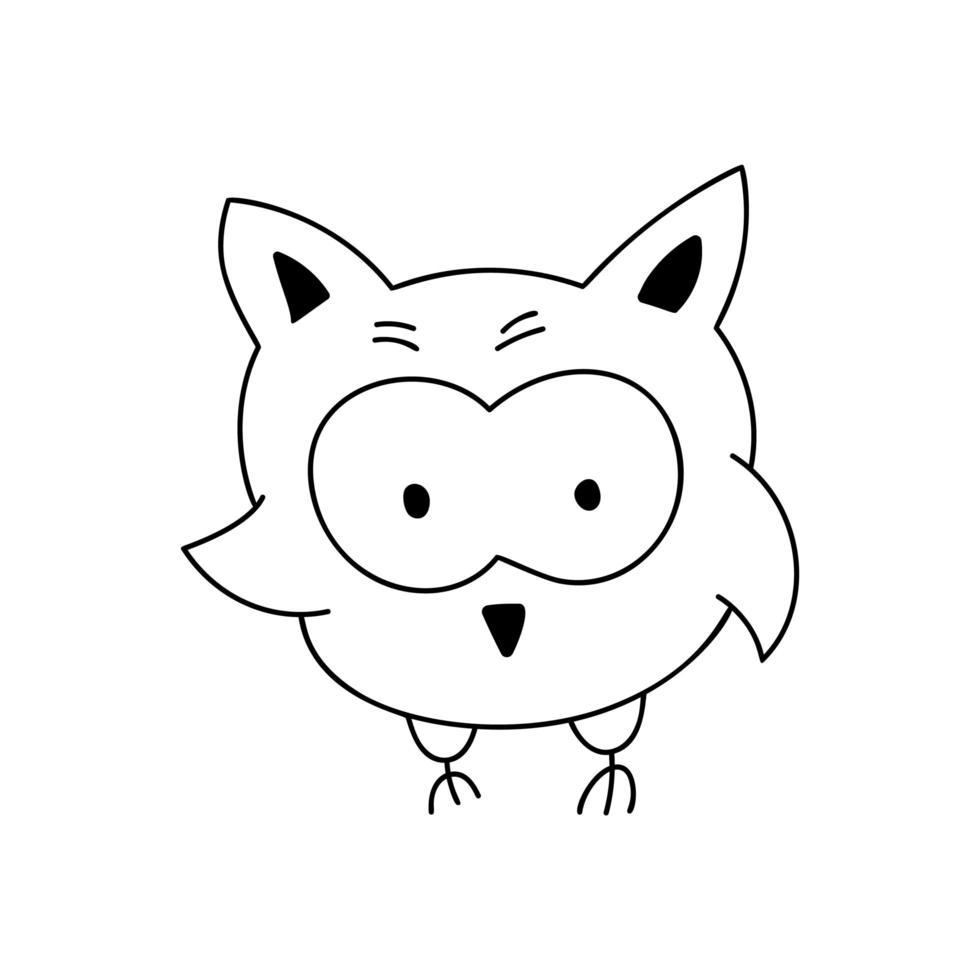 gufo di doodle simpatico cartone animato vettore