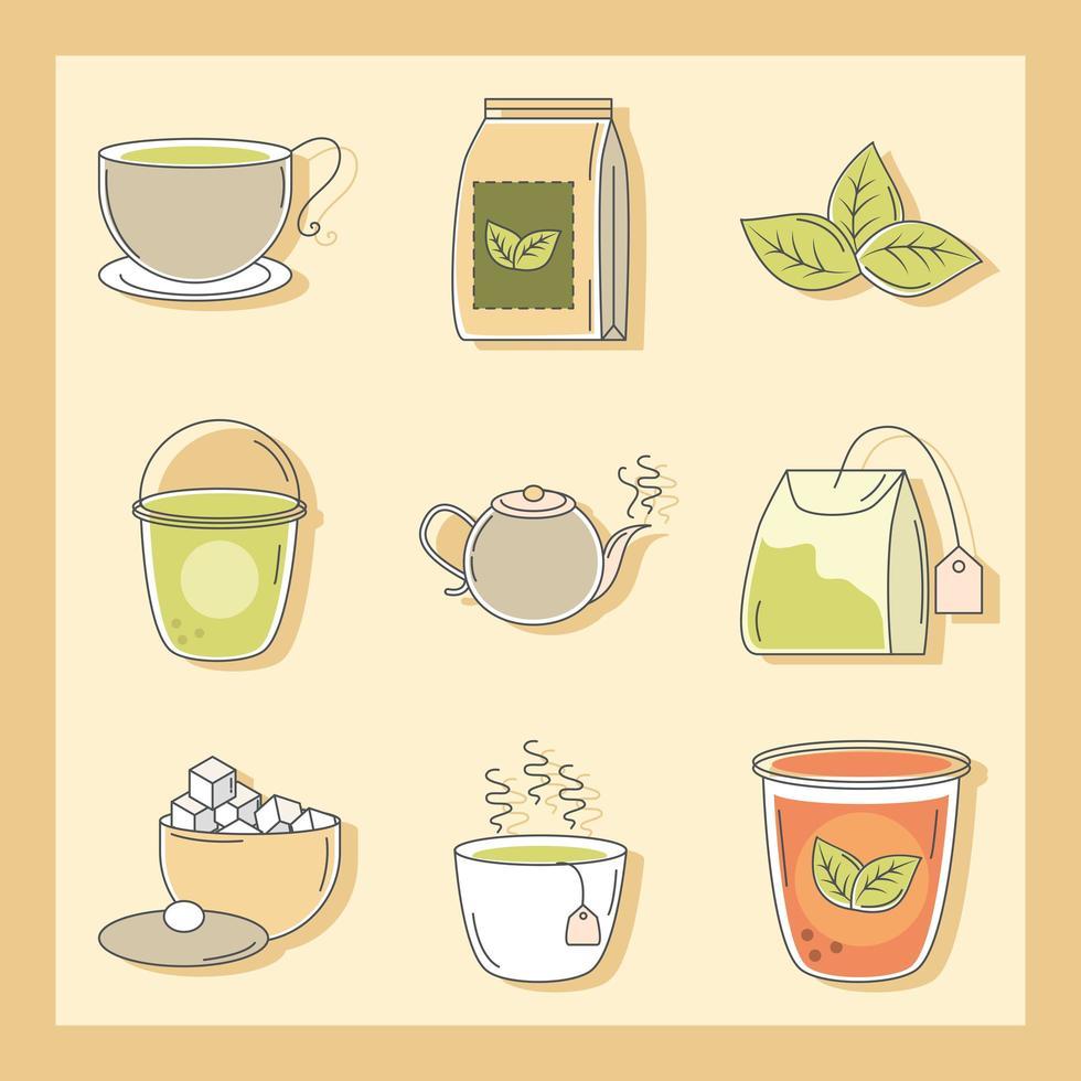 set di diversi tipi di tè vettore