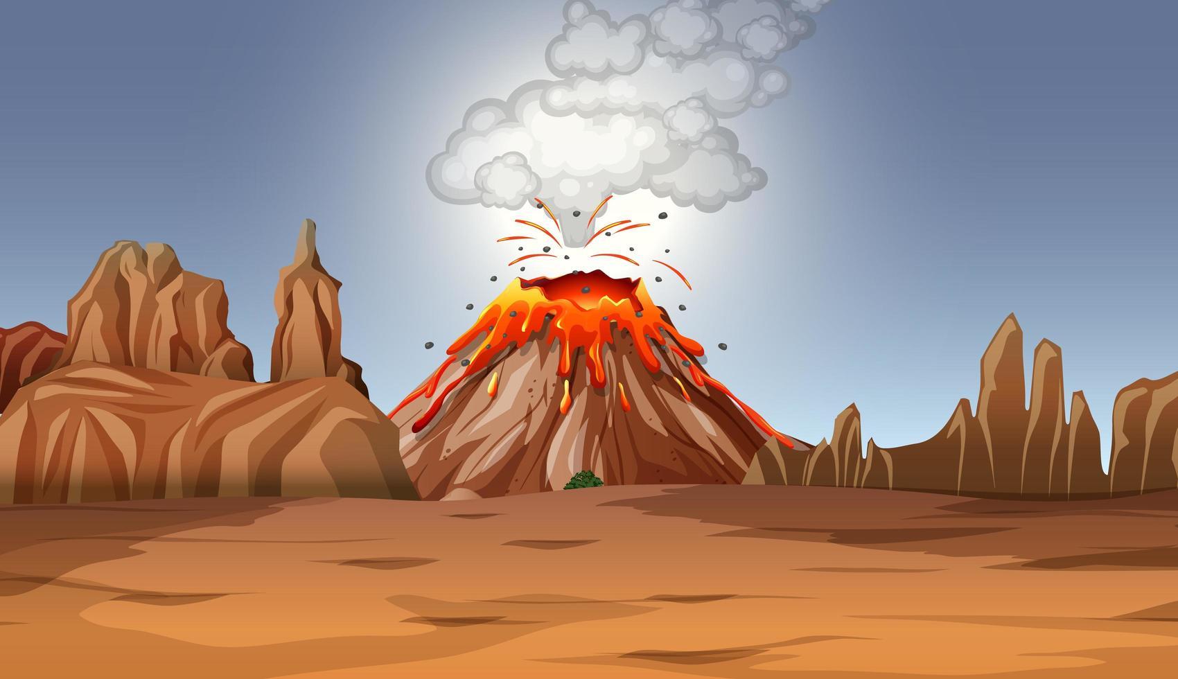 eruzione del vulcano nella scena del deserto durante il giorno vettore