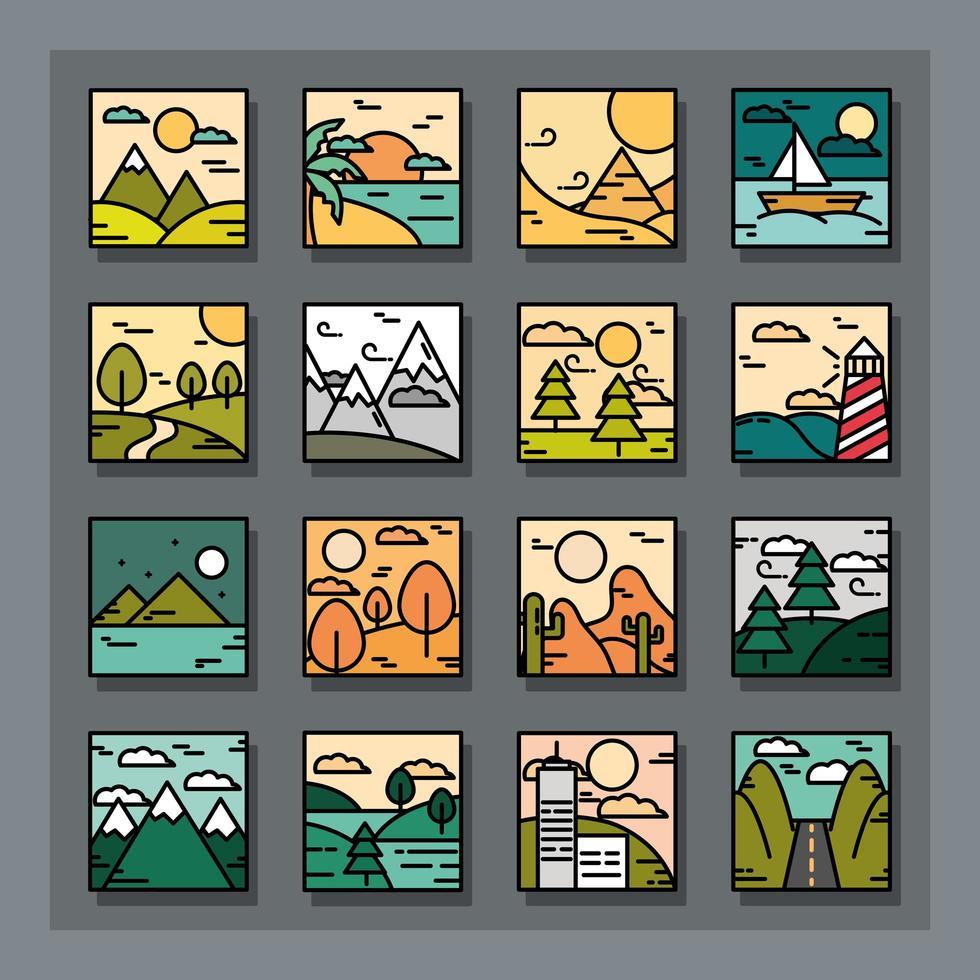 collezione di icone di paesaggio quadrato vettore