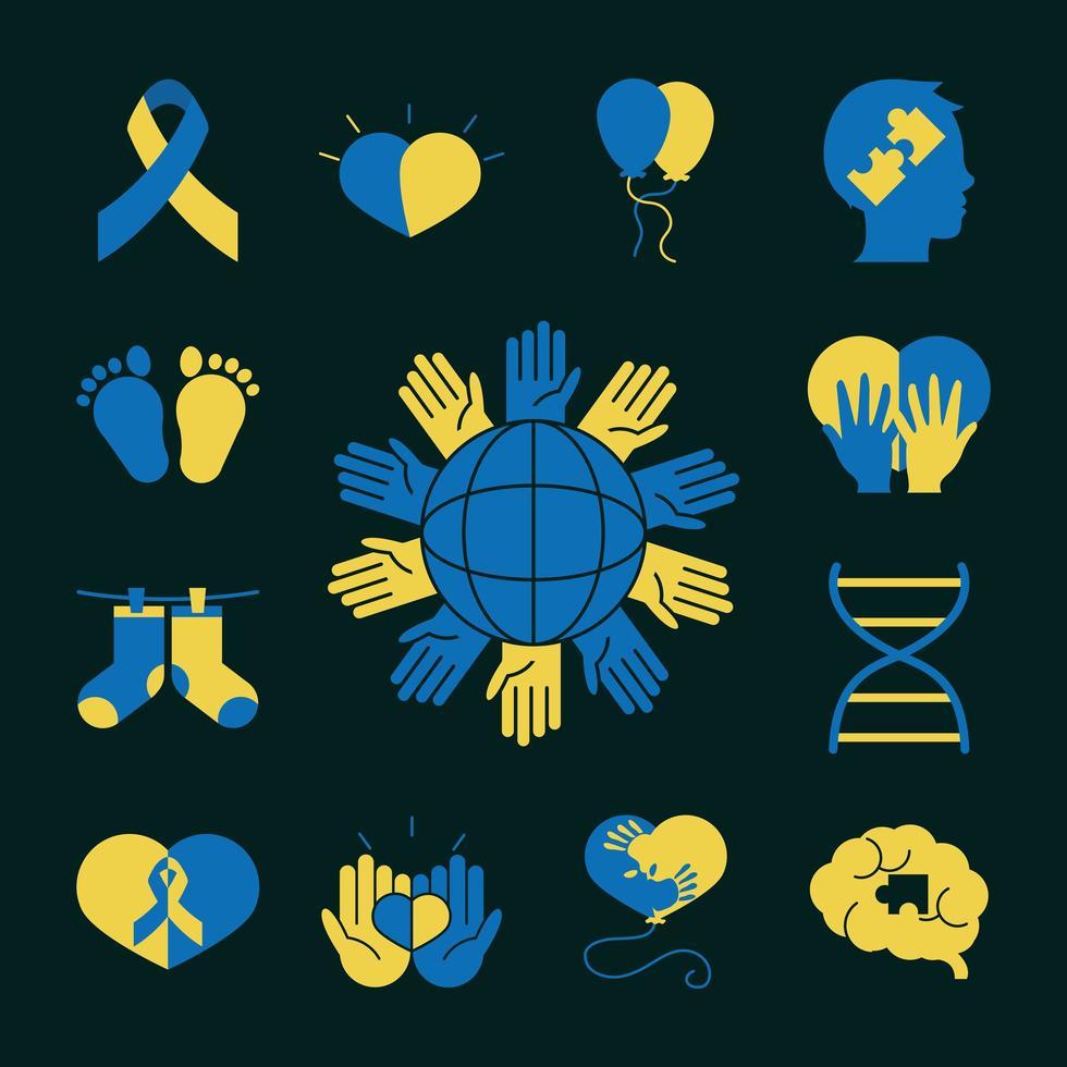 set di icone del pittogramma della giornata mondiale della sindrome di down vettore