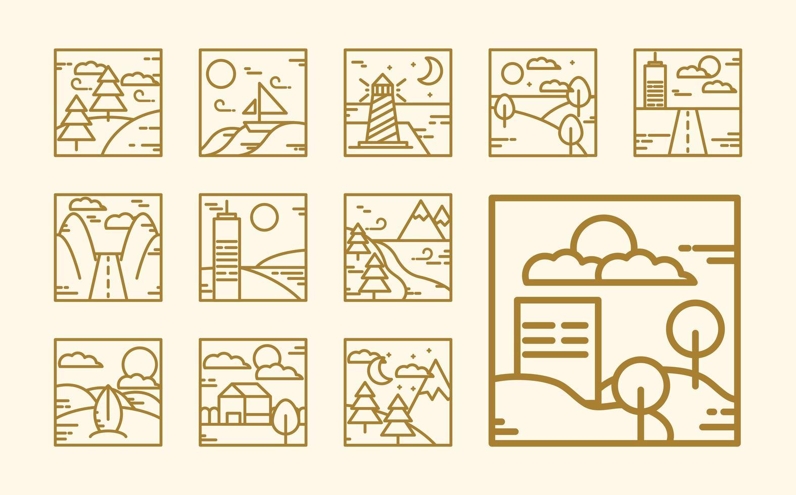 collezione di icone di contorno del paesaggio quadrato vettore
