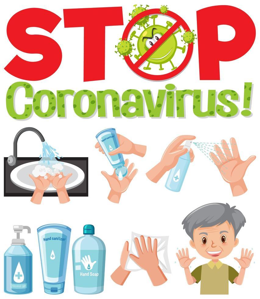 fermare il logo del coronavirus con prodotti disinfettanti vettore