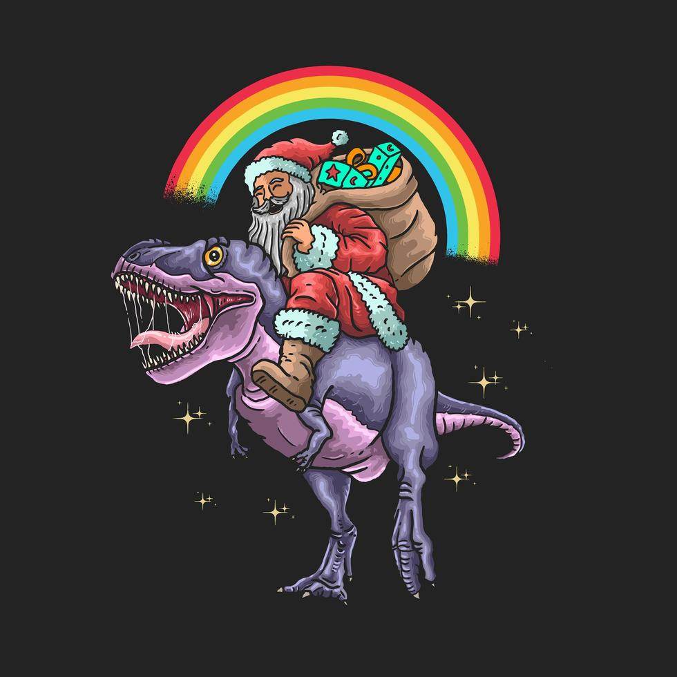 Babbo Natale in sella a un dinosauro grafico vettore