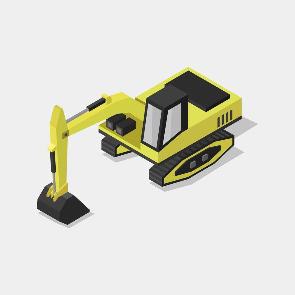 escavatore isometrico su bianco vettore