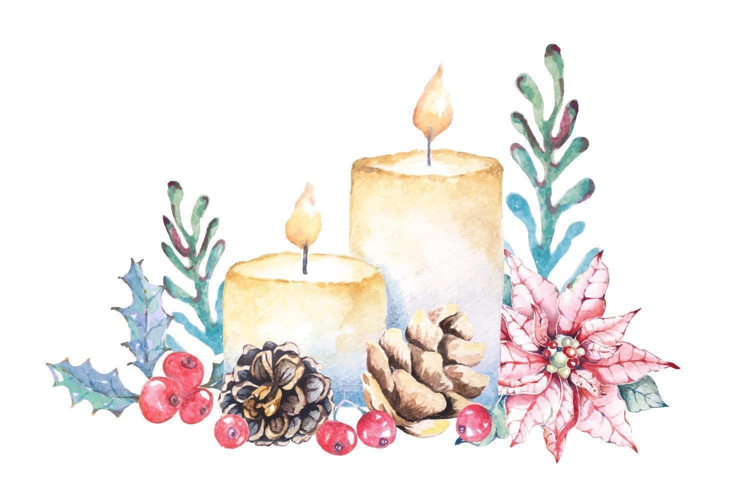 composizione di candele di natale dell'acquerello vettore