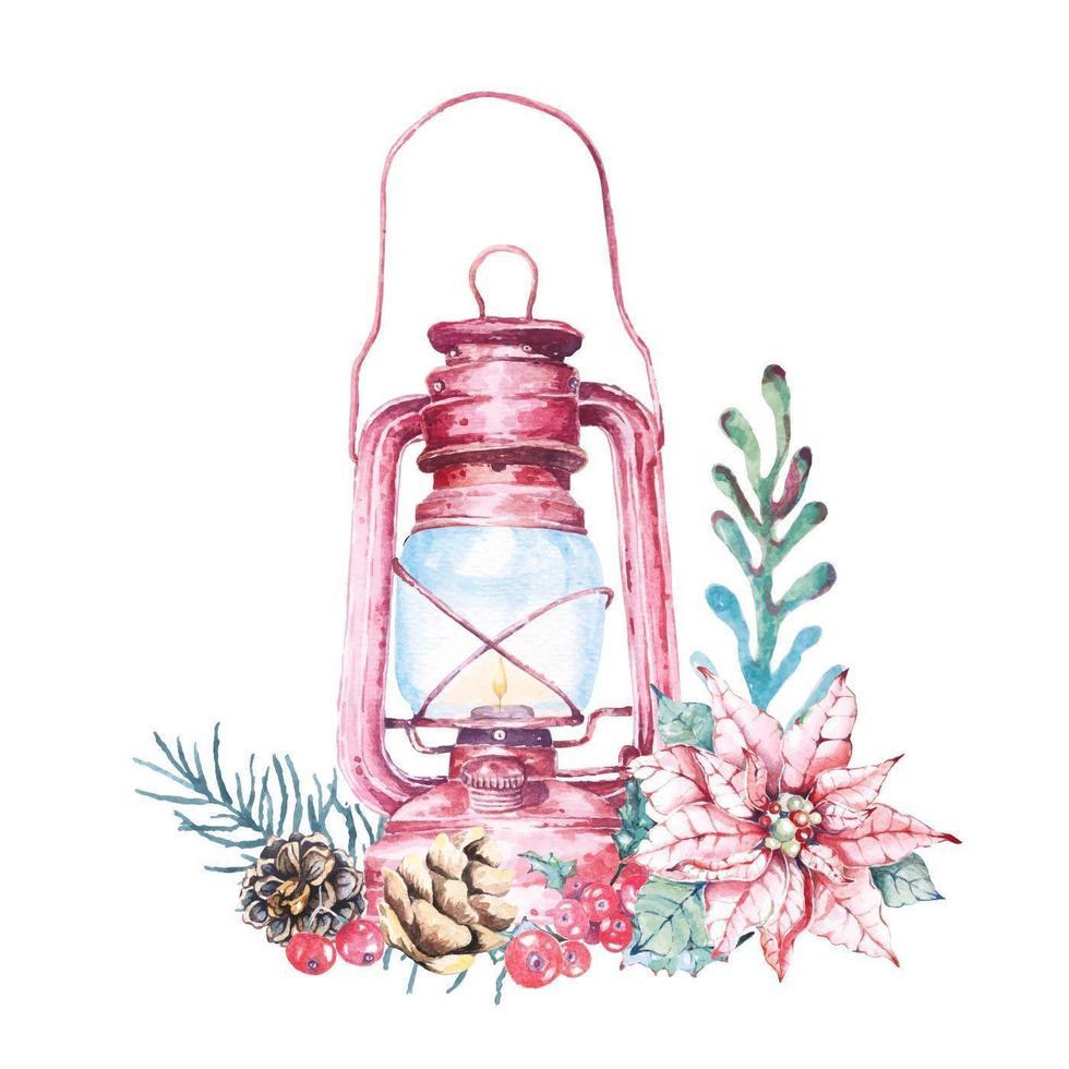 lanterna dell'acquerello e composizione di natale del fogliame vettore