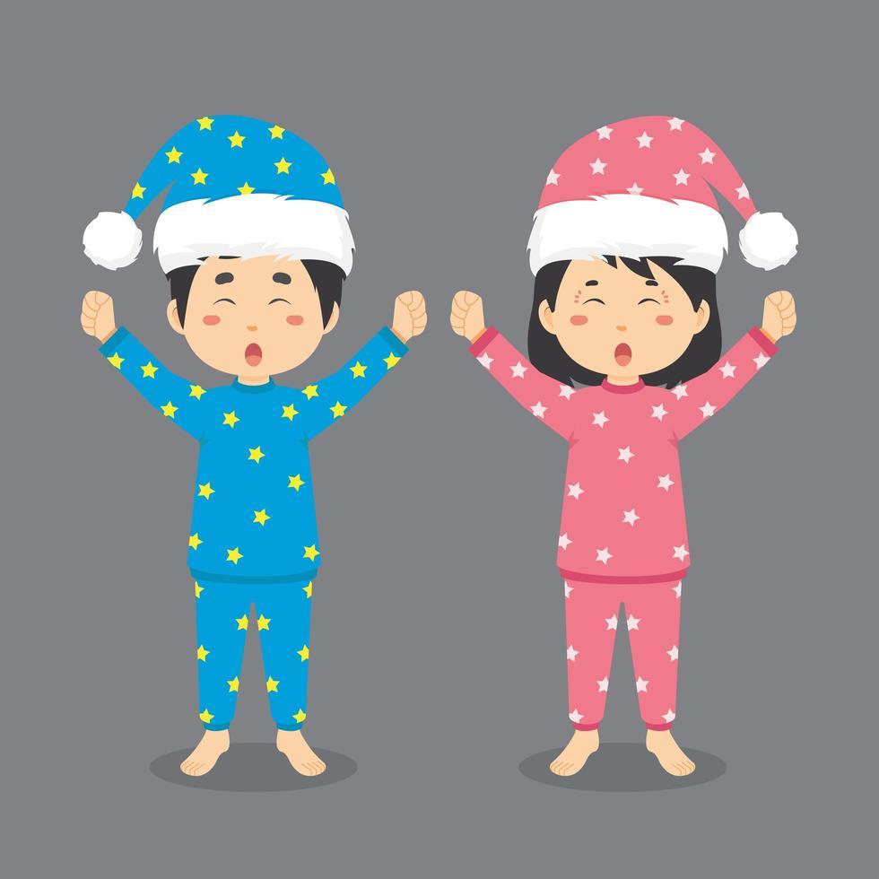 simpatico personaggio di coppia che indossa un pigiama vettore