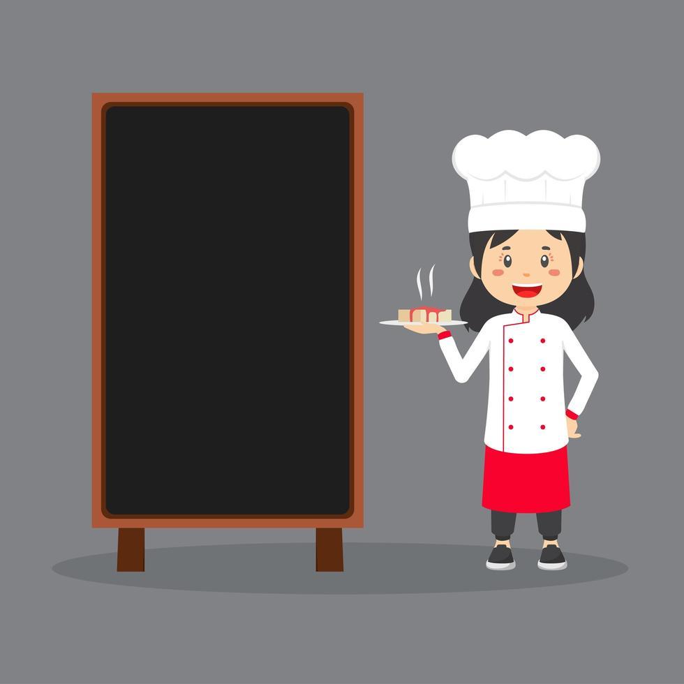 chef portando il cibo accanto al bordo bianco vettore