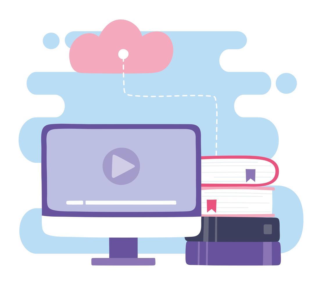 progettazione di video per computer, cloud computing e ebook vettore