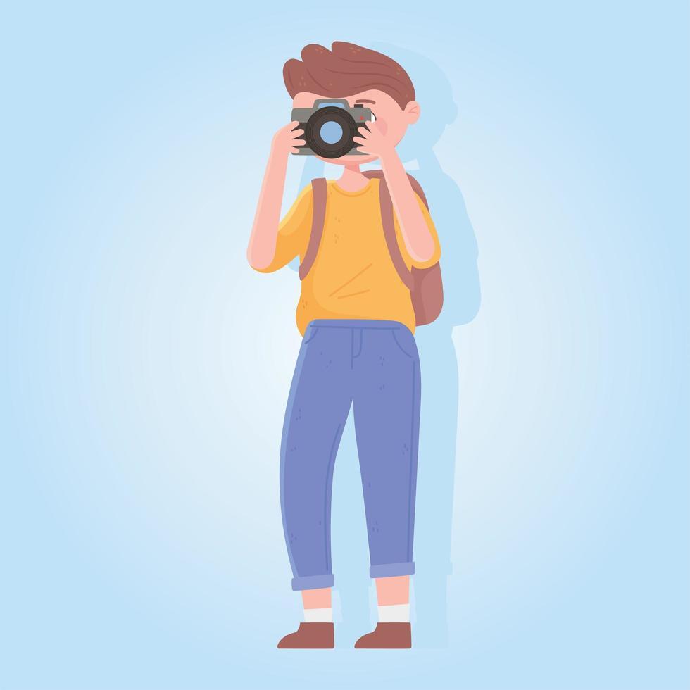 uomo viaggiatore con fotocamera e zaino vettore