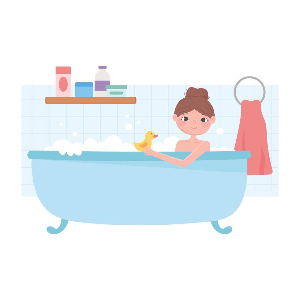 donna rilassante nella vasca da bagno con anatra cartone animato vettore