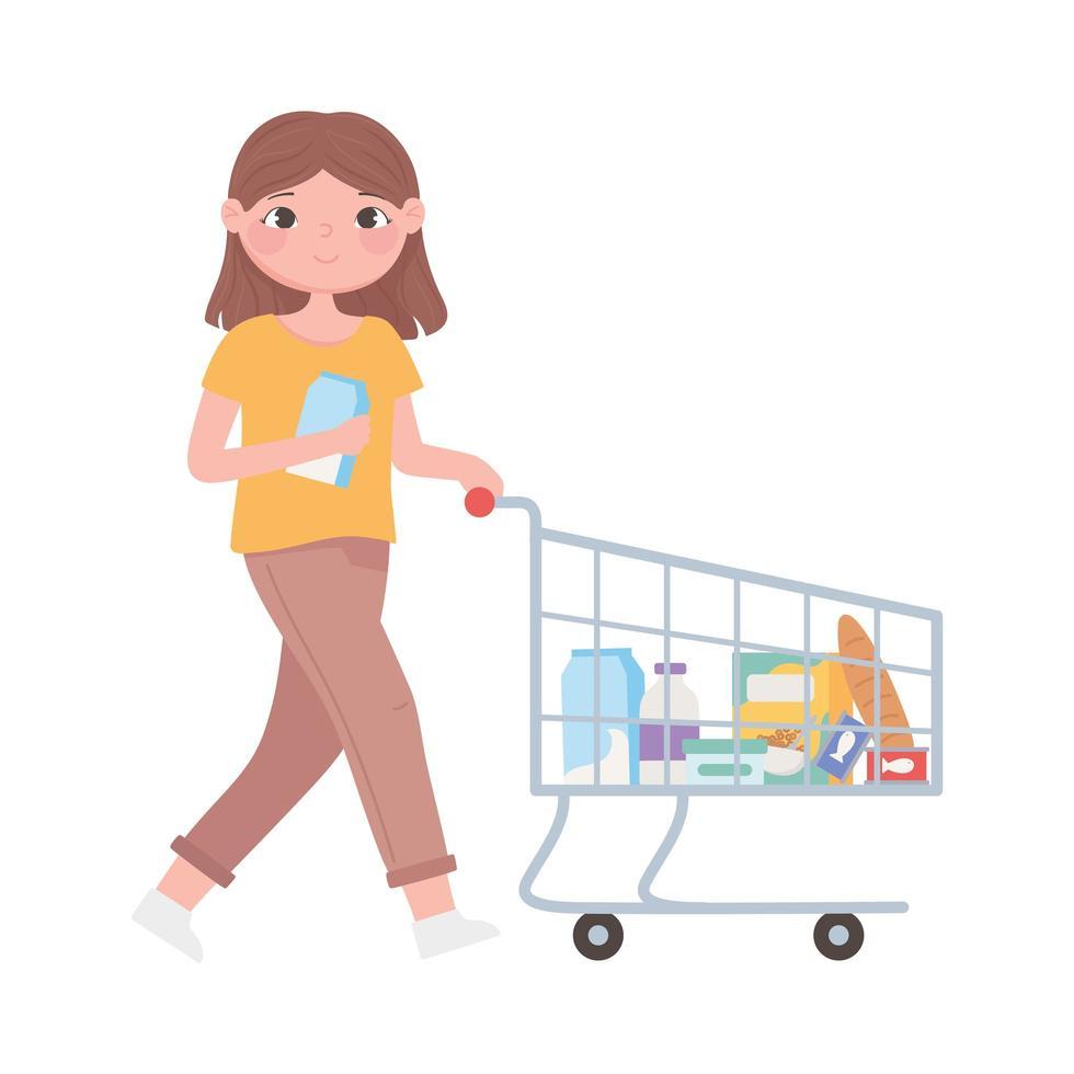 scena di routine quotidiana, donna con carrello della spesa vettore